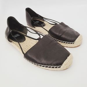 Eileen Fisher Black Leather Round Espadrille Flats